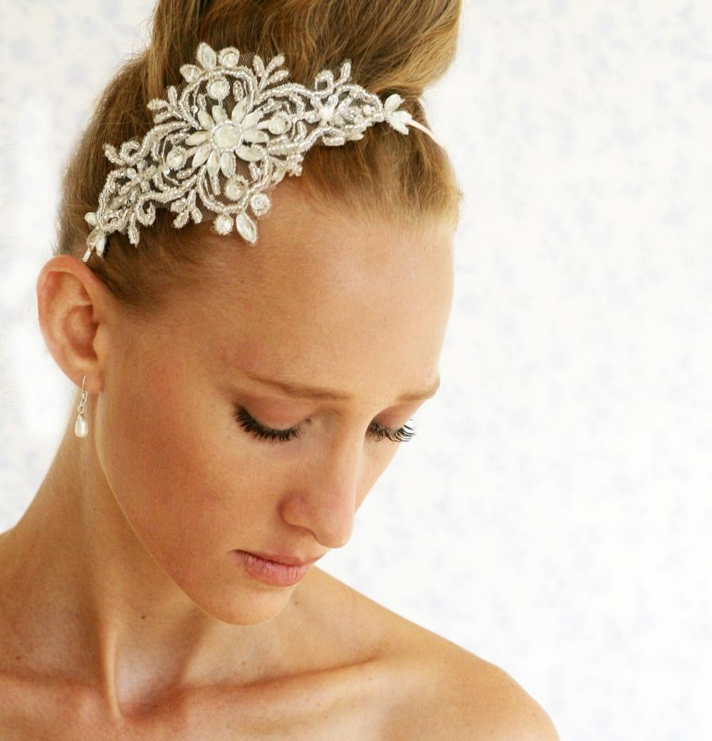 BOGO SALE -bridal lace headpiece - Silvery crown - Chantilly crystals and rhinestone silvery lace headpiece